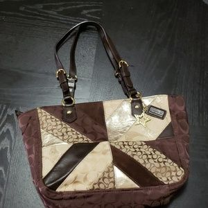 Coach Brown tones and gold  patchwork tote